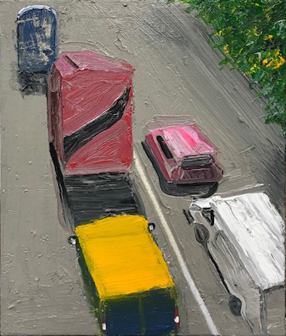 Colourful Traffic oil on canvas 26 X 19 cms