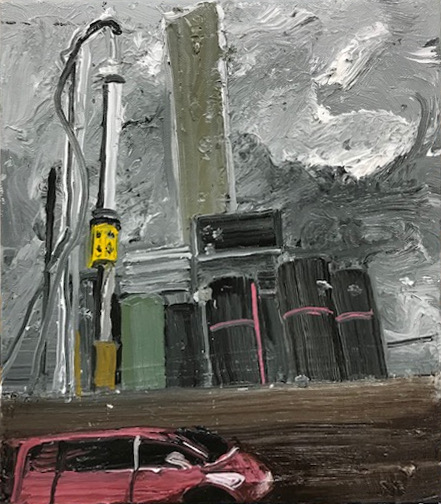 An Oil Pump oil on canvas 26 X 19 cms